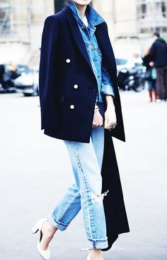 Street Style Layering Blazer Denim Jacket Jeans