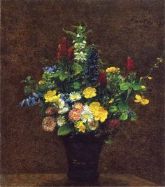 Wild Flowers Giclee Print by Henri Fantin-Latour - by AllPosters. Henri Fantin Latour, Paintings Tumblr, Cool Paintings, Floral Paintings, Flower Vases, Flower Art, Yellow Flowers, Wild Flowers, Art Commerce