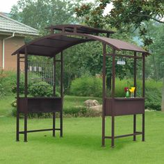Exterior: DIY Grill Gazebo With Lights from Grill Gazebo For Backyard Grill Gazebo, Patio Roof, Backyard Patio, Backyard Landscaping, Grill Hut, Backyard Smokers, Diy Grill, Outdoor Movie Nights, Outdoor Living