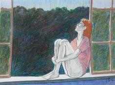 la ventana- lapiz color. 25 x 35