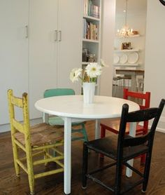 Breakfast Nook Mismatched Chairs Love The Small Round Table With Different Styles And Colors Of