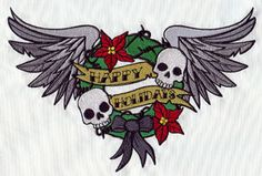 Tattoo Christmas - Happy Holidays Wreath design (UT5512) from UrbanThreads.com