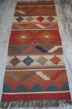 Multi-Color 2.5' x 6' Kilim Rug Hand Knotted Wool Jute Afghan Rug Runner RUG EDH #Turkish