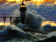 Joseph Lighthouse, Michigan after a severe winter storm. Description from pinterest.com. I searched for this on bing.com/images