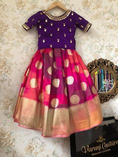 kurta for namakarna and annaprasana tradational wear designs by Angalakruthi boutique Bangalore Kids party wear designs kurta designs dress wear Indian Dresses For Kids, Kids Indian Wear, Kids Ethnic Wear, Dresses Kids Girl, Kids Outfits, Baby Dresses, Kids Dress Wear, Kids Gown, Baby Girl Frocks