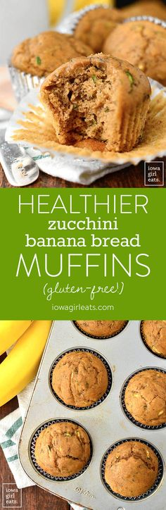Healthier Zucchini Banana Bread Muffins are soft, squishy, and just sweet enough. Pair with coffee or tea for a tasty, gluten-free snack or breakfast idea!  | iowagirleats.com #glutenfree