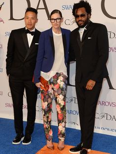 Dao-Yi Chow, left, and Maxwell Osborne of Public School and Jenna Lyons, center, attend the CFDAs.