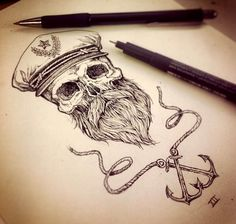 Sketch capitan skull anchor sea tattoo ideas