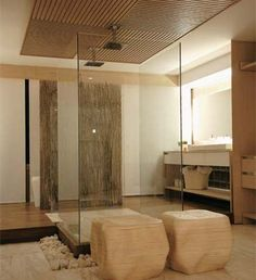 Love the layout of this bathroom..especially the shower in the middle!
