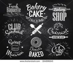 Bakery characters in retro style lettering donuts, croissants, macaron, stylized drawing with chalk on blackboard by anna42f, via Shuttersto...