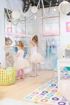 simple DIY ballet barre for playroom