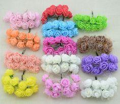 12 unids Barato envío libre DIY mini rosas flores artificiales flores decoración de flores de encaje de la boda anillo de la mano de espuma material