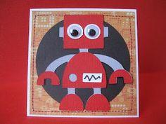 Boys robot card.  Used 'Boys will be boys' cricut cartridge.