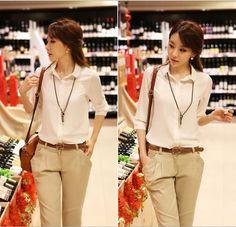 korean fashion spring 2014 belted khaki pants pink blouse