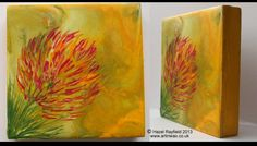 Vibrant colours, a unique painitng : Wax on a wood panel by artist hazel rayfield