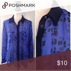 """Rock & Republic Top Rock & Republic royal blue and black patterned sheer button up. Full length sleeves, loose fit. Poly.  Size 14  22"""" across at bust  29"""" long Rock & Republic Tops Button Down Shirts"""