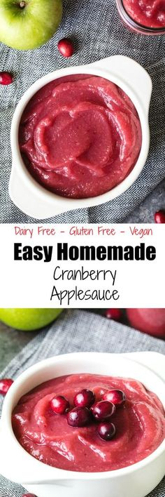 Easy Homemade Cranberry Applesauce is great for Fall snacking and is so simple to make! Gluten Free Sides Dishes, Gluten Free Desserts, Vegan Desserts, Vegetarian Recipes, Healthy Recipes, Delicious Recipes, Holiday Recipes, Christmas Recipes, Cranberry Recipes
