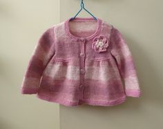 Pink baby cardigan | hand knitted for baby girl 3 - 9 months | girls handknit sweater