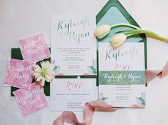 Lilac and Sage Green Watercolor Wedding Invitations | Jessica Gold Photography | http://heyweddinglady.com/watercolors-pastels-artistic-garden-wedding-shoot/