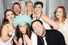 Glam shimmer backdrop matching props are perfect for any wedding booth! #rentmyphotobooth Nice photo via #baroneventi