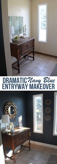 A boring entryway gets a dramatic makeover with BM Hale Navy blue paint color on the walls,  new gold accent mirrors and thick white baseboards.