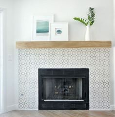 Elegant Fireplace Makeover for Farmhouse Home Decor . Elegant Fireplace Makeover For Farmhouse Home Decor 21 Tips To Diy And Decorate Your Fireplace Mantel Shelf Fireplace Fireplace Tile Surround, Fireplace Redo, Farmhouse Fireplace, Fireplace Remodel, Brick Fireplace, Fireplace Surrounds, Fireplace Design, Fireplace Mantels, Fireplace Ideas