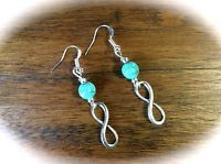 Infinity Earrings w/ Turquoise Blue Magnesite, Antiqued Silver Finish, Metis