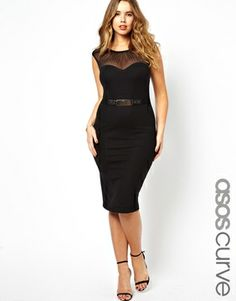 ShopStyle.com: ASOS CURVE Belted Pencil Dress With Ruched Mesh $25.41
