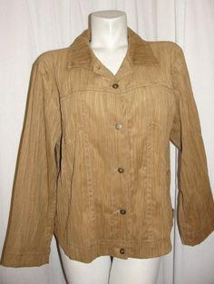 Chicos Womens 14/16 Brown Crinkle Detail LS Button Suede Look Jacket Size 3 XL #Chicos #BasicJacket