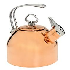I have this Copper Tea Kettle, and LOVE it. I recommend it... plus copper tea kettles make me happy. So pretty.