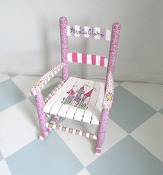 Painted Child Rocking Chair With A Princess Theme, Painted Rocker For A Girl