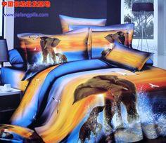 3D Blue yellow elephant bird animal print bedding  set queen size bedspread duvet cover bed in a bag sheet quilt cotton
