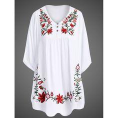 Elegant Women's 1/2 Sleeve Plus Size Embroidered Dress, WHITE, XL in Dresses   DressLily.com