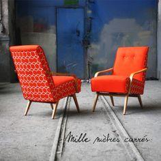 Fauteuil vintage des années 60 orange - Mille m2