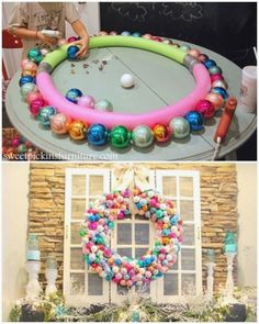 Two pool noodles are better (and bigger!) than one when it comes to wreath-making. The oversized design offers room for a full rainbow of baubles. wreaths easter plastic eggs These Giant Wreath DIYs Will Make You Smile Noel Christmas, Winter Christmas, Christmas Ornaments, Ball Ornaments, Homemade Christmas Wreaths, Holiday Wreaths, Christmas Porch, Christmas Vacation, Country Christmas