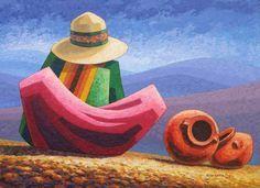 LARGA ESPERA BY OSCAR TINTAYA Mexican Paintings, Country Paintings, Mini Paintings, Peruvian Art, South American Art, Mexico Art, Naive Art, Mexican Folk Art, Art Plastique