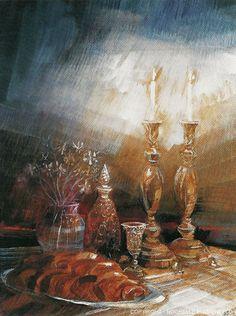 Shabbat Lithograph by Rochelle Blumenfeld Jewish Sabbath, Jewish Celebrations, Jewish Art, Jewish History, Judaism, Art Pictures, Wall Art, Hamsa Painting, Candle Lighting