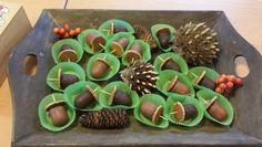 Eikeltjes herfst traktatie (mini chocoladezoen en mini stroopwafel)