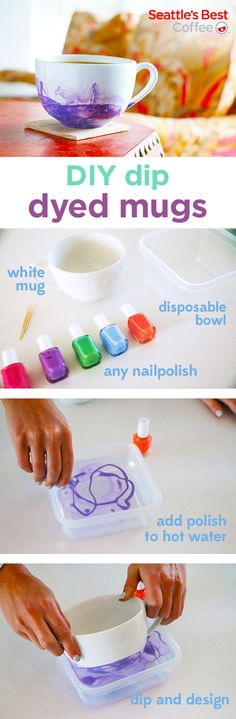 32 amazing things you can make with nail polish nail polish make your mugs more festive when you dip dye them to perfection start with warm water and drip nail polish into the bowl dip mug into bowl prinsesfo Images