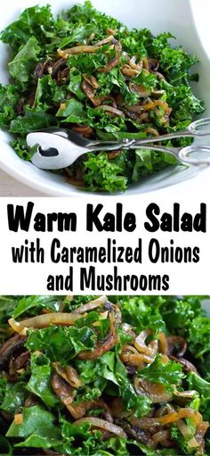 Caramelized onions and sautéed mushrooms make everything better. This warm kale salad is no exception! Add chickpeas or beans for extra protein. 102 calories and 2 Weight Watchers SP Caramelized Onions And Mushrooms, Sauteed Mushrooms, Kale Salad Recipes, Vegetarian Recipes, Fun Easy Recipes, Easy Meals, Simple Kale Recipes, Pancakes Weight Watchers, Warm Kale Salad