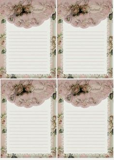 Roses & stripes journal cards Free download