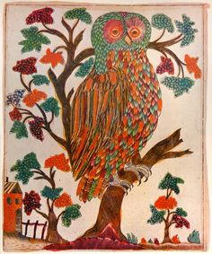 The owl. Copper engraving, colored, 26.5x21.5 cm, Russia, 1800