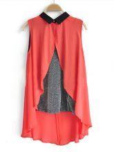 Red Sleeveless Contrast Cami Chiffon Dipped Hem Split Back Shirt 0.00