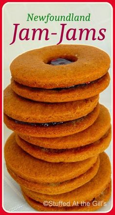 Newfoundland Jam-Jams are soft molasses cookies sandwiched together with your favourite jam. Jam Cookies, Filled Cookies, Molasses Cookies, Sandwich Cookies, Cookies Et Biscuits, Baking Recipes, Cookie Recipes, Dessert Recipes, Vegan Recipes