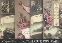 French Love Postcards  Pack of 4  Amour Ephemera by UpstairsCats