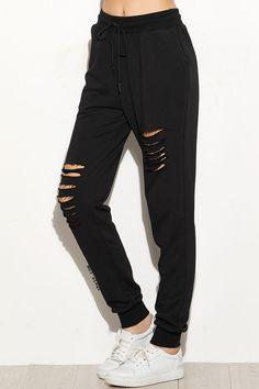 Black Ripped Drawstring Sweatpants. 100% Cotton