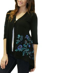 Black Eva Hi-Low Cardigan by Caite #zulily #zulilyfinds