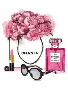 Fashion shopping art illustration print pink designer home decor floral pretty make up Chanel Wallpapers, Cute Wallpapers, Wallpaper Backgrounds, Iphone Wallpaper, Chanel Dekor, Chanel Wall Art, Mode Poster, Fashion Wall Art, Illustration Art