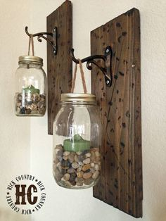Best Country Decor Ideas - Rustic DIY Mason Jar Wall Lanterns - Rustic Farmhouse Decor Tutorials and Easy Vintage Shabby Chic Home Decor for Kitchen, Living Room and Bathroom - Creative Country Crafts, Rustic Wall Art and Accessories to Make and Sell Diy Home Decor Rustic, Handmade Home Decor, Cheap Home Decor, Farmhouse Decor, Farmhouse Style, Rustic Style, Farmhouse Furniture, Rustic Western Decor, Mason Jar Projects