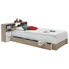 Diese tolle Kombination aus Bett und Regal von CARRYHOME wird Sie begeistern: Auf dem Bett können Sie entspannt zur Ruhe kommen.Das am Kopfteil angebrachte Regal schafft mit den offenen Fächern und Schubladen Ordnung.